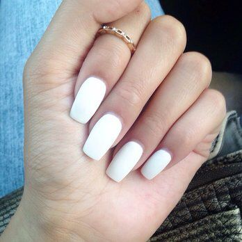 White acrylic nails                                                                                                                                                                                 More