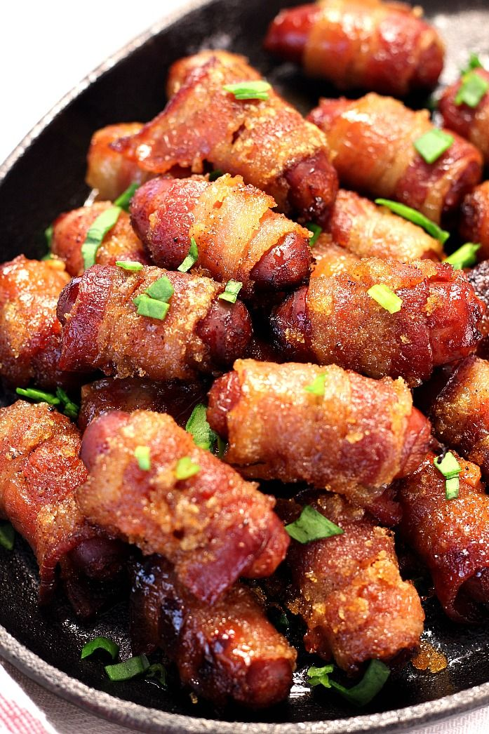 Sweet and Spicy Bacon Wrapped Little Smokies - easy party appetizer with a little bit of a sweet kick! Check out our video to see how we made them!
