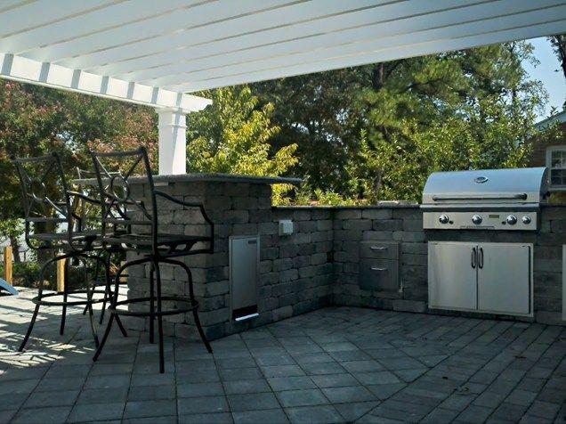 Backyard Kitchen, Built In Bbq, Gray Block Outdoor Kitchen Mid Atlantic Enterprise Inc Williamsburg, VA