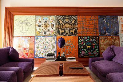 Framed Hermes scarves: Frames Scarves, Wall Art, Interiors, Hermes Scarves, Wall Decoration, Hermes Scarfs, Frames Hermes, Silk Scarves, Wall Galleries