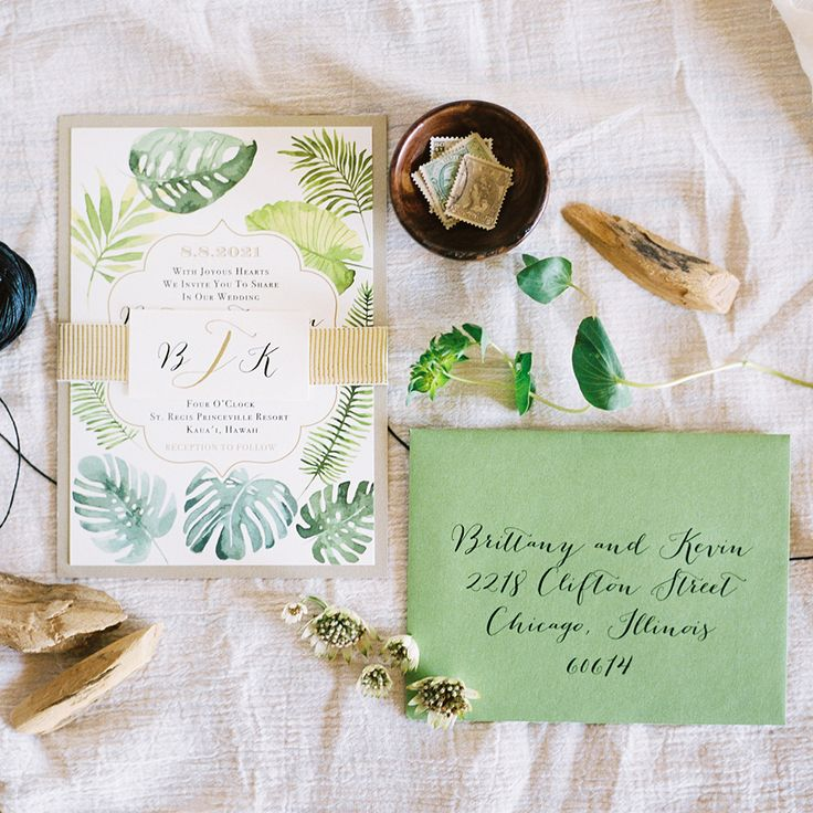 sister wedding invitation card wordings%0A wedding invitations with greenery by Beacon Lane  photo by Ben Q  Photography http
