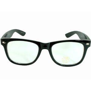 348167f9aba Nerd Glasses Buddy Holly Wayfarer Black Frame Clear Lens