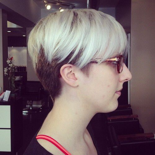 Heavy Ash Blonde Top Two Toned And Dark Rooted Pixies