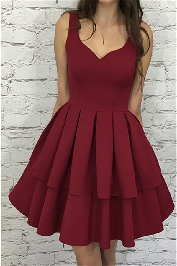 d8af5813ae1 Simple Short Burgundy Tiered Homecoming Dress