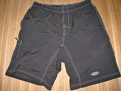 PERFORMANCE Cycle Shorts BAGGY Size LARGE Nylon BLACK with PADDED Inside LINER