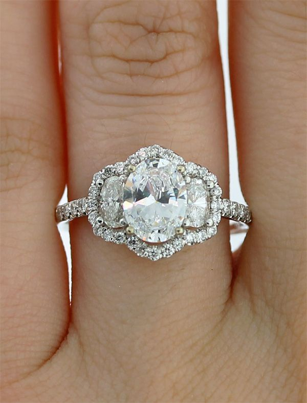 diamond three stone engagement wedding ring