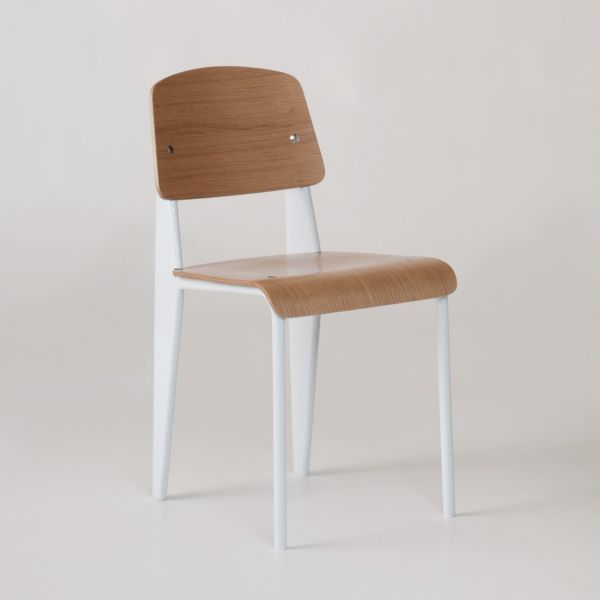 Steel frame and curved plywood chair