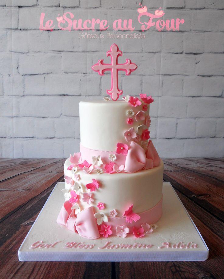 Girl baptism cake-Le sucre au four
