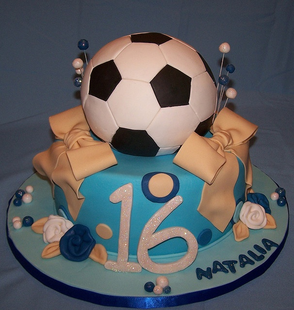 Sweet Sixteen Soccer Theme Cake by cakespace - Beth (Chantilly Cake Designs), via Flickr