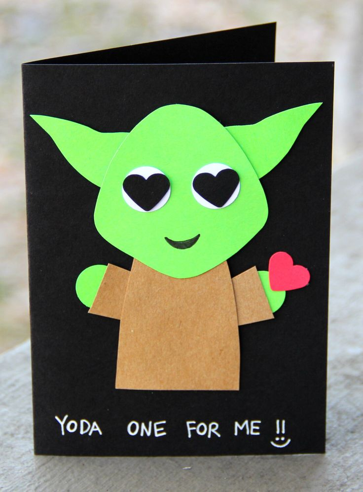 Yoda One for Me!- Valentine's Day Card by thepaperhugfactory on Etsy https://www.etsy.com/listing/263922284/yoda-one-for-me-valentines-day-card Star Wars card