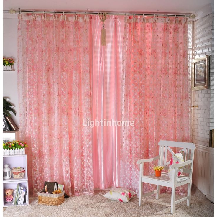 Sweet Bedroom Designs With Pink Curtain For Girls: Gorgeous White Bedroom with Peach Pink Floral Polka Curtain and White Brick Wall also White Chair and Beige Rug – Ewehome Interior Design Ideas and Furniture