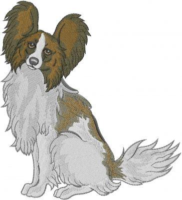 Papillon собака вышивка