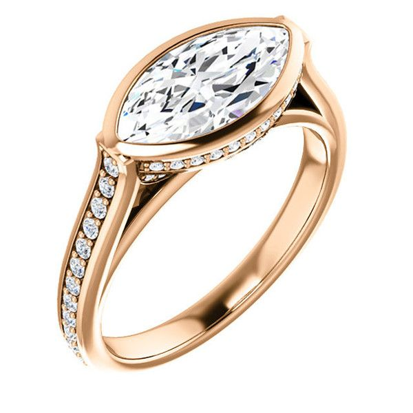 1.5 Ct Marquise Diamond Engagement Ring 14k Rose Gold