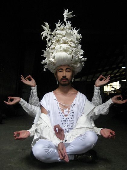 Andre Judd - Ken Samudio 'Hallucination' Paper Headpiece, Eairth Organic Cotton Tee With Hand Embroidered 'Alibata' (Native Alphabet), Quilted Silk Jacket, Protacio Stretch White Skinny Trousers - WHITE LOTUS