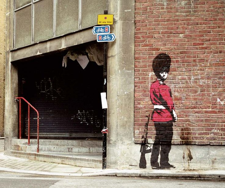 "If you haven't checked out banksy yet please do so with great haste. Banksy has a bunch of images available on his website in high res and is definitely worth checking out. If you want more (and you should) he has a book called: ""Wall and peace"". It's awesome."