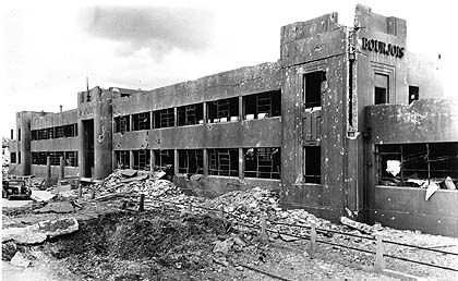 The Bourjois perfume warehouse - gutted by bombs in 1940 but still standing today © Courtesy of Sutton Local Studies and Archives Centre