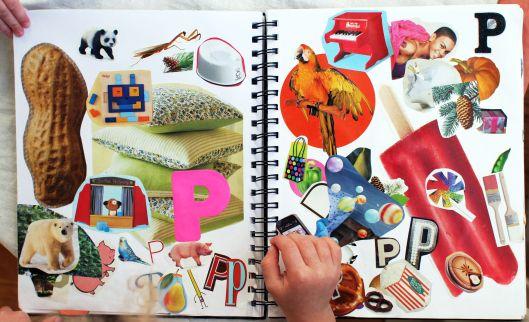 Alfabetboek. Maar voor iedere letter van het alfabet een bladzijde. Plak er plaatjes op van woorden die met die letter beginnen. De P hoort bij pinda! (denk aan de alfabetnaam!). Door dit spel leert je kind de naam van de letter en tegelijk de bijbehorende klank(en).