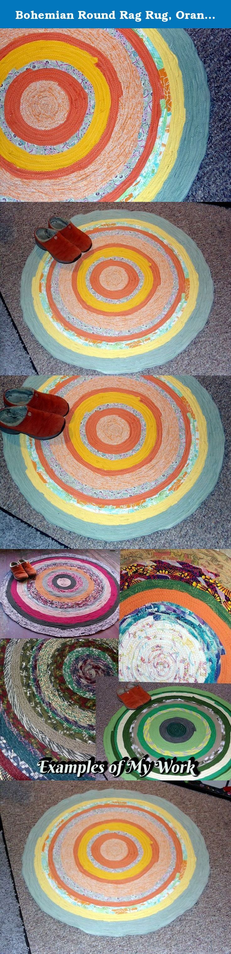 Bohemian Round Rag Rug, Orange Tones, Circle Rug, Gypsy Round Wall Hanging, Mandala Rug Art, Round Braided Rug, Upcycled Rug Floor Covering. Round Rag Rug, Round Wall Hanging, Mandala Rug Wall Art, Round Braid Rug, Upcycled Clothing Rug Carpet Floor Covering This mandala style bohemian rug shown measures about 3 feet (36 inches) in diameter as shown. Perfect size for large mandala wall art or a great throw rug. The rug shown is finished and available to ship now. Round Rug made in the rag...
