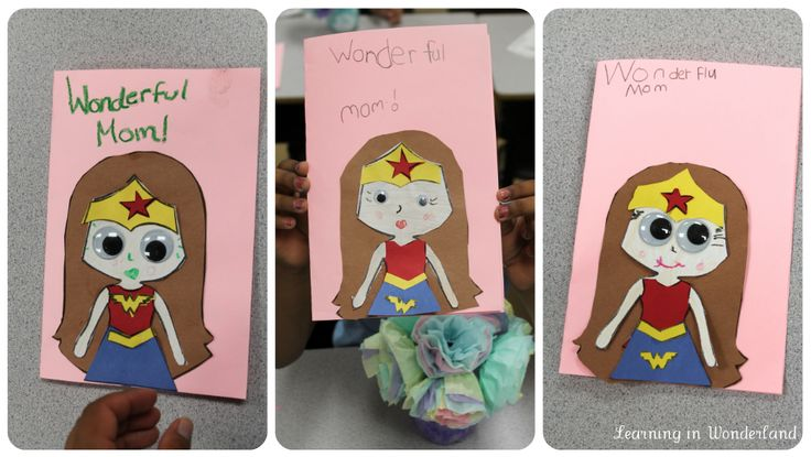 Cute Wonder Woman Mother's Day card ideas!