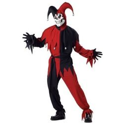 Red And Black Evil Jester Costume - Scary Halloween Costumes