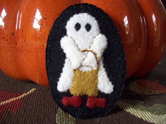 Little Ghost Trick or Treating Brooch Halloween by rustiquecat