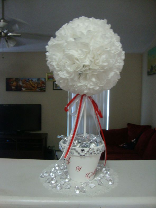 Topiary Tree Wedding Centerpiece (Coffee Filter Flower) :  wedding coffee filter flowers diy paper flower reception red silver topiary wedding centerpiece white DSC03800