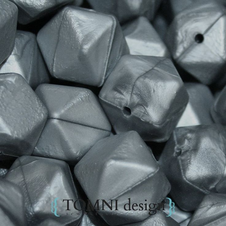 Hexagon Metallic Grey / Gunmetal Grey Silicone Beads
