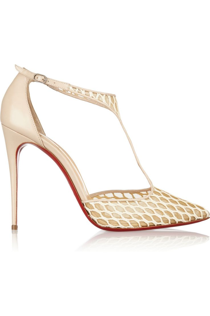 Christian Louboutin | Salonu 100 embroidered mesh and leather pumps | NET-A-PORTER.COM