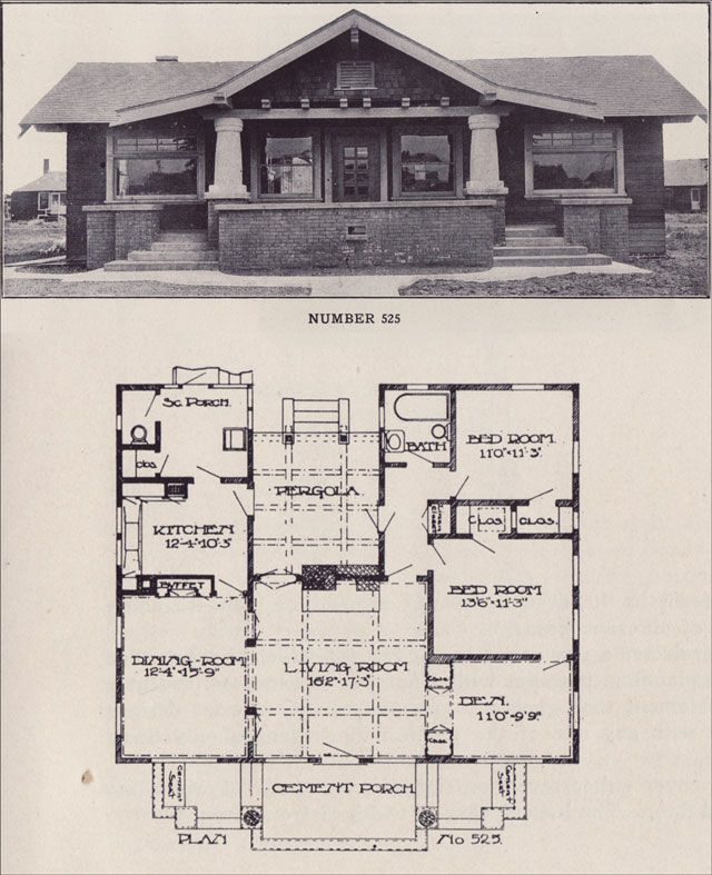 Plan 525 Description reads Most bungalow style