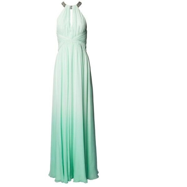 Matthew Williamson Ombre Opal Silk Chiffon Gown ($1,617) ❤ liked on Polyvore featuring dresses, gowns, gown, mint, white ball gowns, ruched dress, white gown, ombre gown and white evening dresses