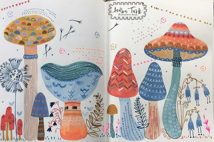 Trying out gouache and gel pens and on toadstools Andrea Turk