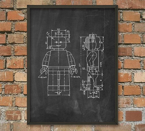 Lego Patent Wall Art Poster 4   8 X 10 In Chalkboard