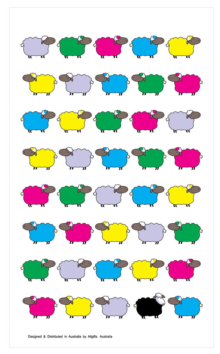 Colourful Sheep in a Row 100% Cotton Kitchen Tea Towel