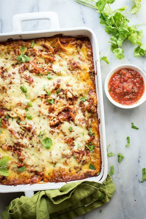 Chicken Tortilla Casserole ~ Chicken and melted cheese layered between fresh tortillas - oh yum! ~ from Foodness Gracious