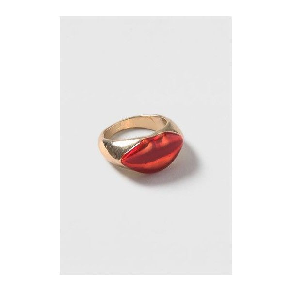 TopShop Lip Ring (£7) ❤ liked on Polyvore featuring jewelry, rings, red, lip jewellery, red jewelry, red lips ring, topshop jewelry and lip rings