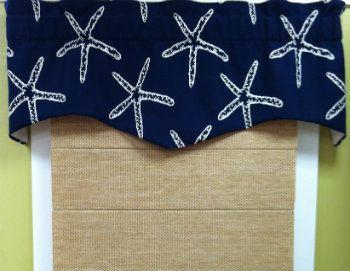 Seashell Curtains And Valances Starfish Valance Coastal Print Nautical Ideas For The Home