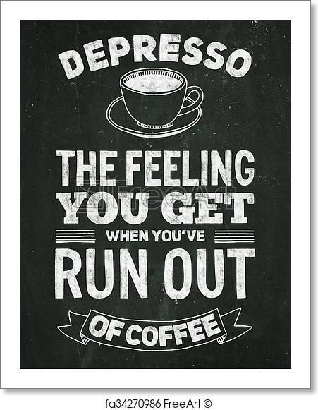 Hand drawn poster with quote about coffee - Artwork  - Art Print from FreeArt.com #CoffeeQuotes