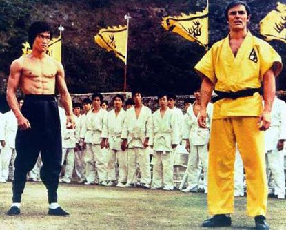 Enter the dragon.  Bet I have seen this movie 100 times! Besides return of the Dragon has to be the best Bruce Lee movie of all time. It was the only movie that he used his real voice!