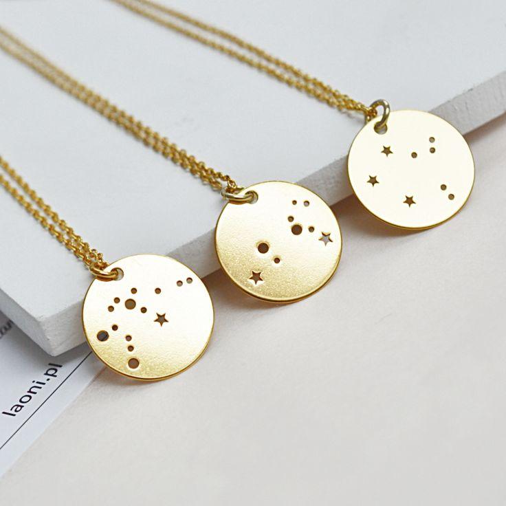 Biżuteria z konstelacjami gwiezdnymi. Kup na: https://laoni.pl/bizuteria-ze-znakiem-zodiaku #znakzodiaku #konstelacje #naszyjnik #złoty #srebrny
