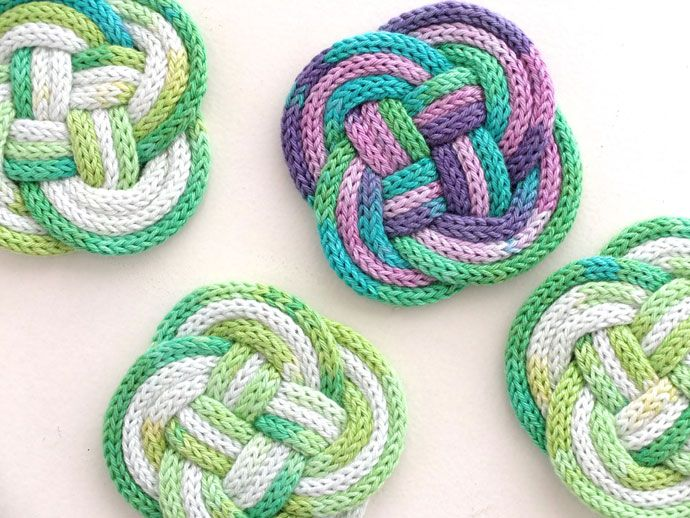 French Knitted Knotted Coasters