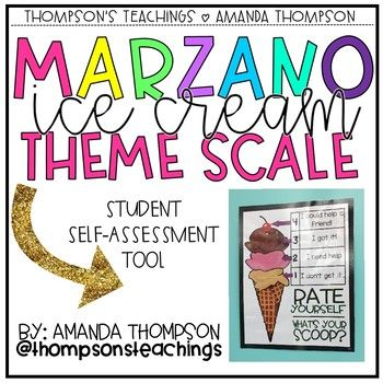 Hello there! This pack includes: -Marzano Learning Goals Ice Cream Scale Poster Pack -Poster 8 1/2 by 11 -Photo of constructed poster scale for reference -Desk sizes for students to self-monitor -Word signs to help construct poster -Large ice cream cone banner