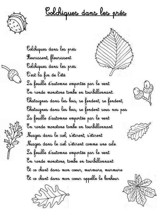 """L'automne en chansons (pour les enfants): """"Colchiques dans les prés"""" http://www.bonjourlesenfants.net/automne/comptines/colchique-dans-les-pres.html"""