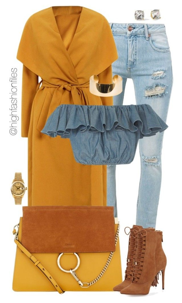 """Crop Top in Fall"" by highfashionfiles ❤ liked on Polyvore featuring Off-White, Elie Saab, Chloé, Alexandre Birman, MDS Stripes, Kate Spade and Rolex"