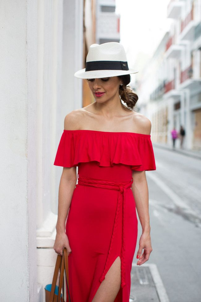 Lady In Red In Puerto Rico. Revolve Red Dress (on sale now!) // White Fedora (similar here) // Forever 21 Brown Bag (similar here) // Schutz 'Kija' Fringe Heels
