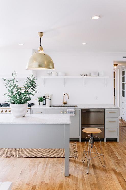 White and gray kitchen ...