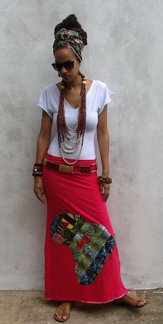 I Love Afrika PatchWork Maxi Skirt ankara kente by iladesigns ~African fashion…
