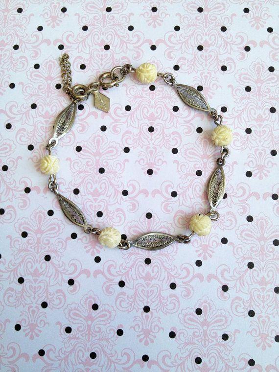 Vintage Sarah Coventry carved rose bracelet