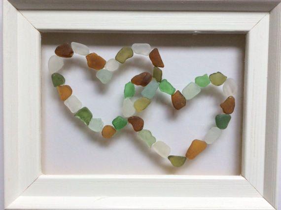 Deux interconnexion coeur d'amour sun catcher, Seaglass fenêtre, double coeur suncatcher, art de verre de mer