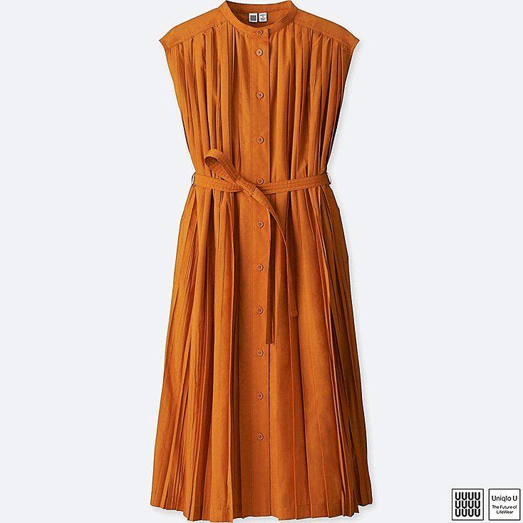 WOMEN U PLEATED SLEEVELESS SHIRT DRESS, ORANGE, large