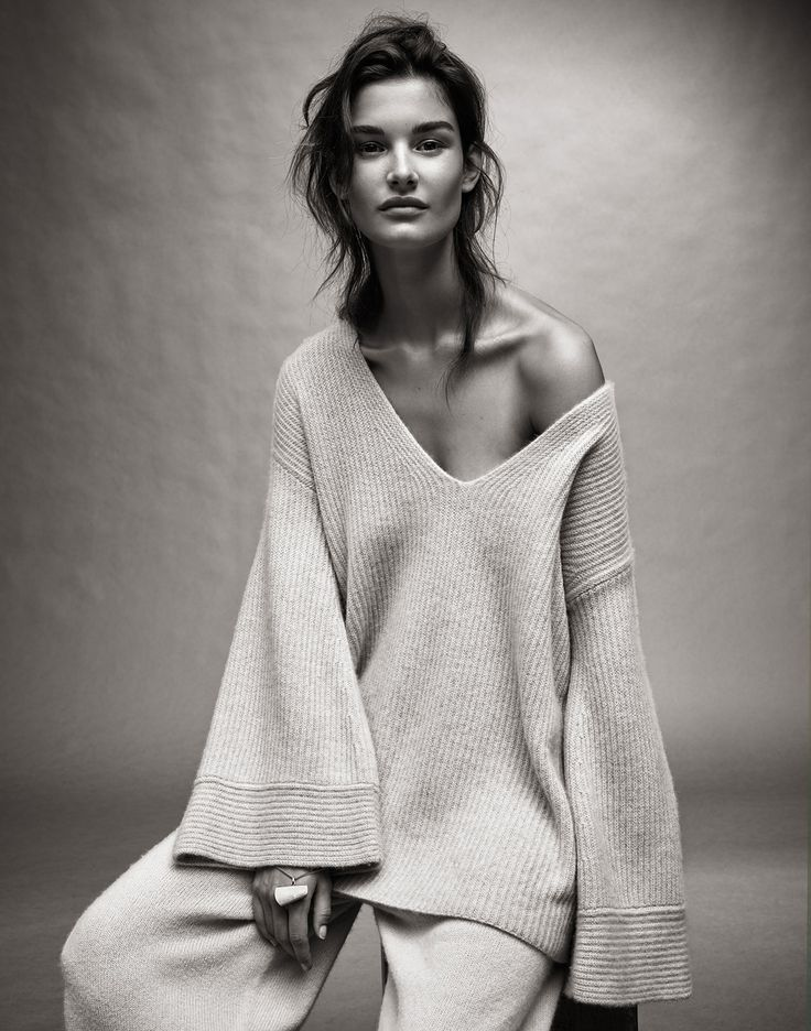 Ophelie Guillermand   Sweater and pants The Row, necklace Maison Martin Margiela (worn as bracelet)